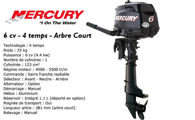 présentation du moteur hors-bord mercury 6 cv