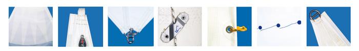 exemples de finitions des voiles vendues dans yachtingstock.com
