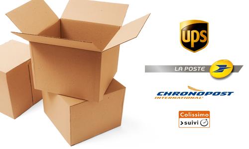 images de cartons d'emballages et de logos de transporteurs