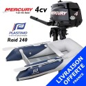 Annexe Plastimo Raid 240 et moteur Mercury 4 cv  - Livraison offerte